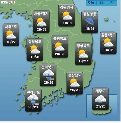 [오늘의 날씨예보] 광주 등 전라·강원 소나기, 낮 최고 33도…내일날씨는?