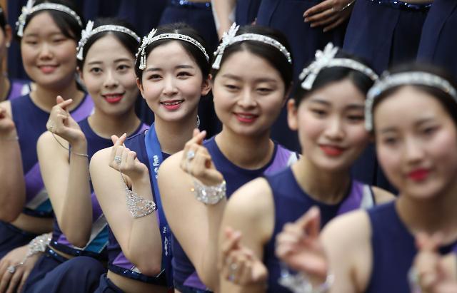 2019光州世界游泳锦标赛颁奖礼礼仪小姐进行彩排