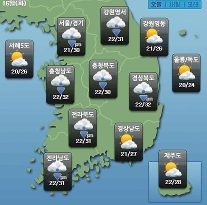[오늘의 날씨 예보] 파주 등 경기도, 전국 소나기…미세먼지 농도 보통~한때 나쁨