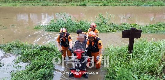 안산소방, 장마철 폭우로 고립된 70대 안전하게 구조