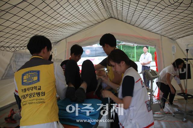의정부성모병원 재해의료지원팀 출동  현장에서 직접 화재사고 응급 환자 치료 및 이송