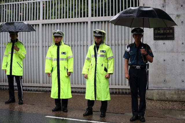 日本大使官邸前加强警备