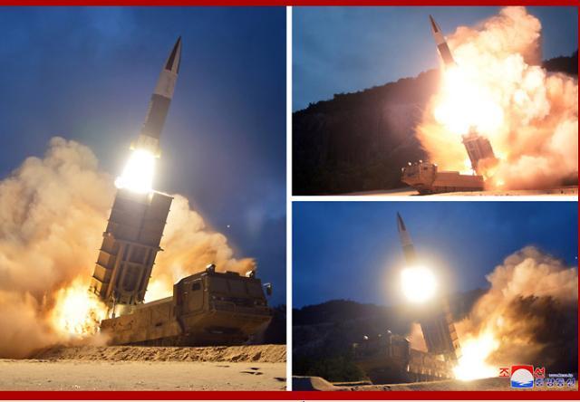 [포토] 북한 전술 지대지 미사일 발사 장면