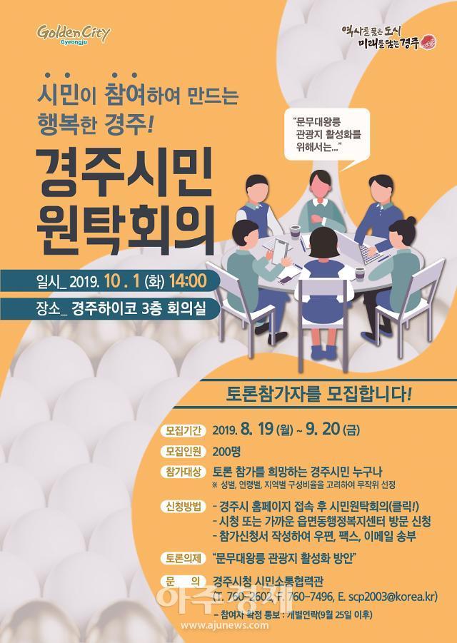 경주시, 시민원탁회의 토론참가자 200명 모집
