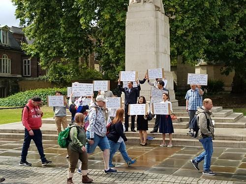 영국 한인사회도 노재팬 동참, 런던의사당서 日규탄 집회