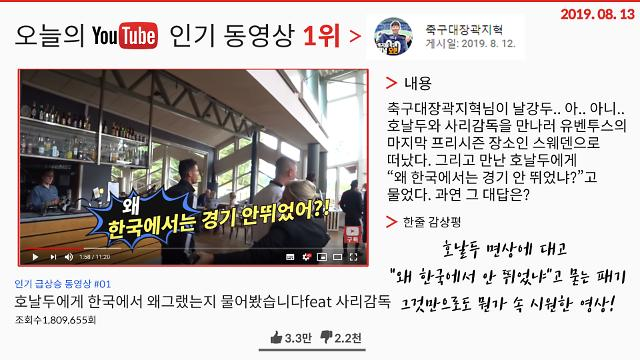 """[오늘의 유튜브] 8월 13일 오늘의 '핫'한 유튜브 영상 BEST 3…호날두를 직접 찾아가 """"왜 한국에서는 안 뛰었어?""""라고 묻다 외"""