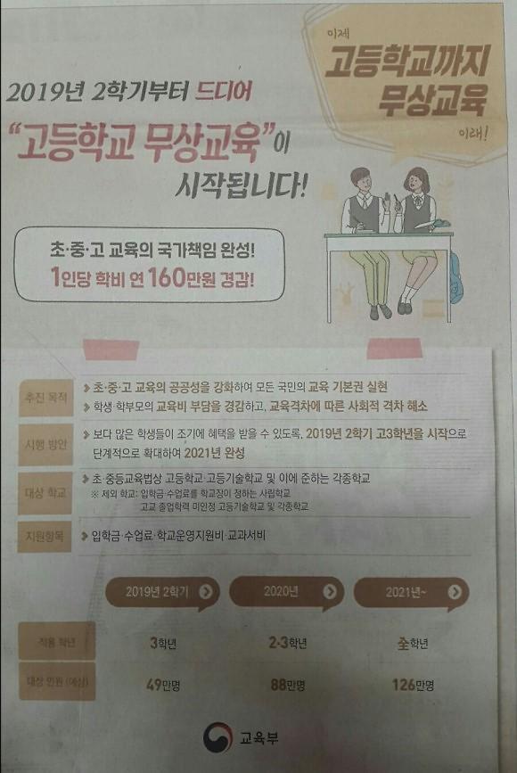 인천시교육청, 2학기부터 고등학교 3학년 수업료와 학교운영지원비 지원