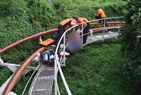 [포토] 대구 이월드 사고 20대 다리 봉합수술 실패