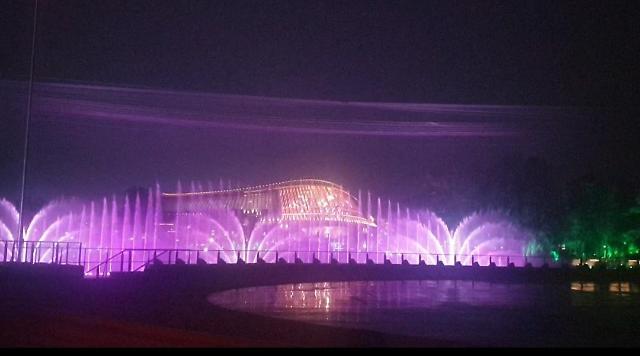 [중국포토] 베이징 세계원예박람회 볼거리…화려한 음악분수쇼