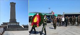 .朝军总政治局局长向中国人民英雄纪念碑献花.