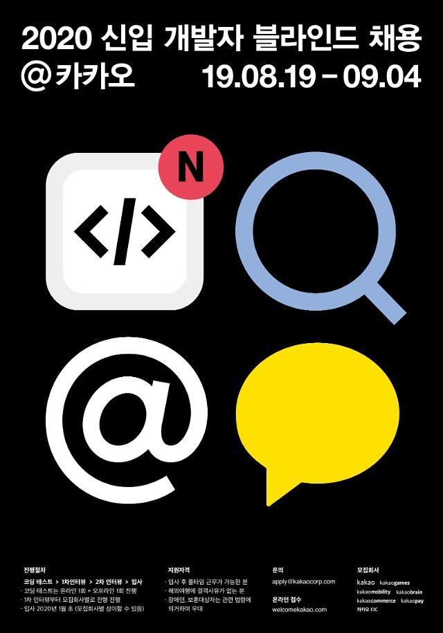 카카오, 신입 개발자 블라인드 채용 진행