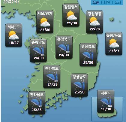 [오늘의 날씨 예보] 대전·익산 등 충청·남부·제주 호우특보 시간당 30mm 이상…천둥·번개