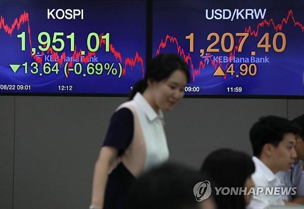 위안화 절하에 원·달러 환율 상승 마감