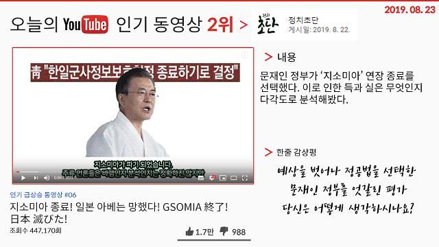 [오늘의 유튜브] 8월 23일 유튜브 BEST 3…'지소미아 종료, 아베는 망했다', '엑스원(X1) 콘셉트 트레일러 공개' 외