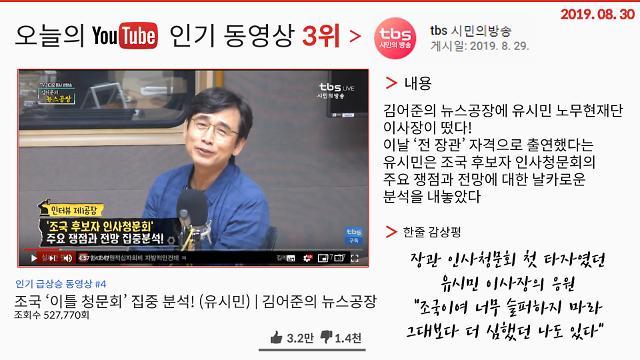 """[오늘의 유튜브] 8월 30일  BEST 3…'유시민, """"조국이여 슬퍼 마라""""', '표창원vs장제원·김진태', '절대 악플 달리지 말 것'"""