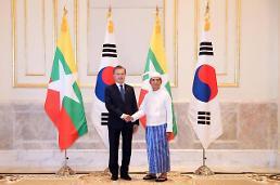 .文在寅会见缅甸总统温敏.