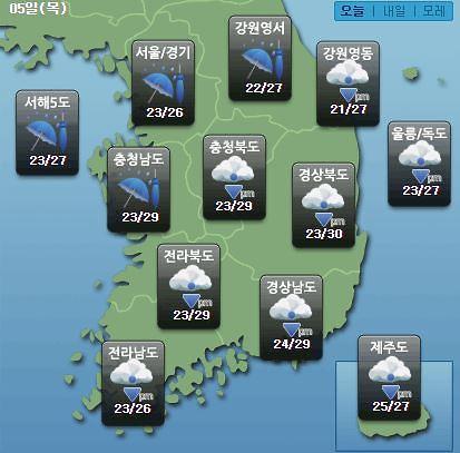 [오늘의 날씨 예보] 전국 가을장마, 서울 호우예비특보·인천·제주 호우주의보