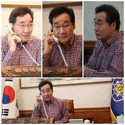 .韩总理与普通公民通话.
