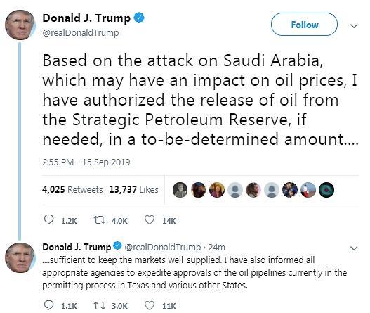 """사우디 사태에 국제유가 12달러 폭등...트럼프 """"전략비축유 방출 재가"""""""
