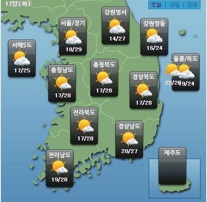 [오늘의 날씨 예보] 큰 일교차 아침 최저 16·낮 최고 29도…미세먼지 좋음
