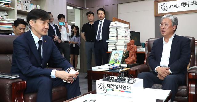 조국, 논란 속 범여권 지도부 예방…자진 사퇴 요구엔 진땀