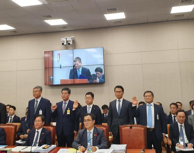 """[2019 국감] 여수산단 오염물질 조작 기업 CEO들 """"심려끼쳐 죄송하다"""""""