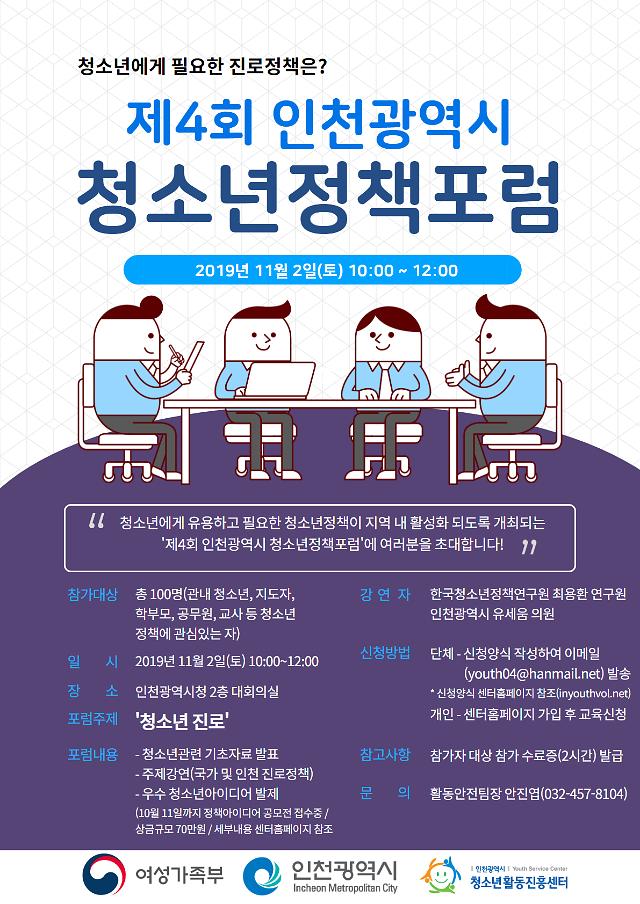 인천광역시청소년활동진흥센터 '제4회 인천광역시청소년 정책포럼' 개최