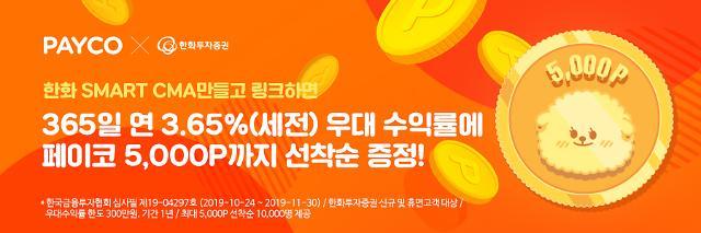 NHN페이코, 수익률 3.65% PAYCO 한화 Smart CMA 시즌3 출시