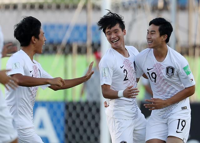 [슬라이드 화보] 칠레 꺾고 U-17 월드컵 16강 진출한 한국 축구 다음 상대는 앙골라