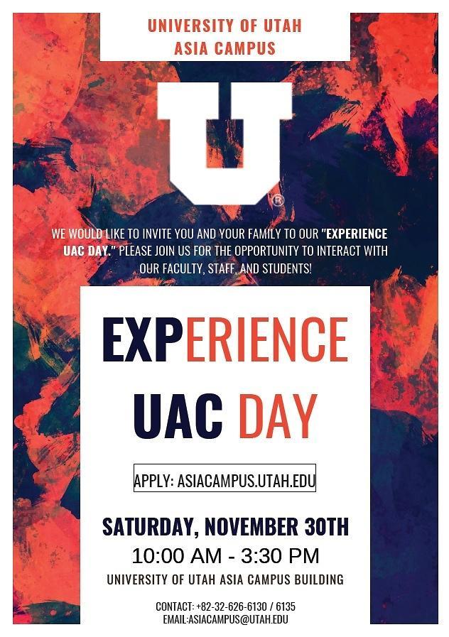 유타대학교 아시아캠퍼스, 11월 30일 UAC 체험의 날 개최