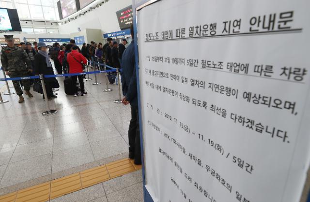 철도노조 태업 이틀째…부산 출발 상행선 KTX 최장 40분 지연