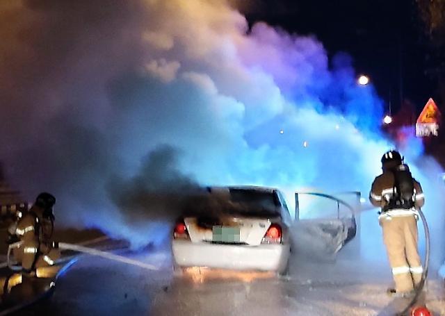 [포토] 남해고속도로 달리던 승용차 화재