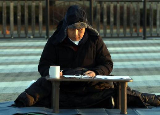 [포토] 청와대 앞에서 단식하는 황교안 대표