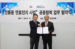 .KT embarks on development of solid oxide fuel cell power generators for buildings.