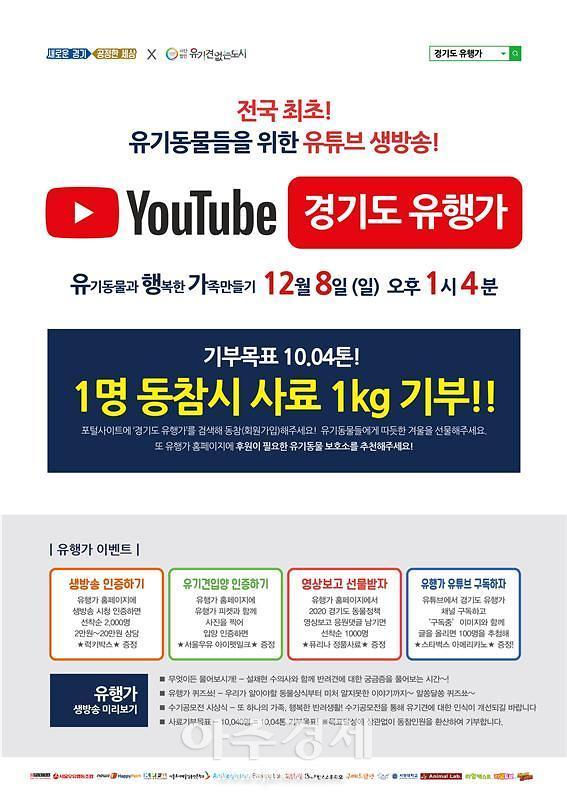 경기도, 유기동물 위한 유튜브 생방송 방영‥설채현·치타·김기욱 등 출연