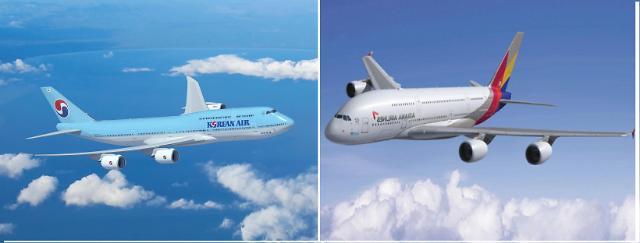 """[기업S토커] """"무슨 비행기 탈까?""""… 한 눈에 보는 대한항공 vs 아시아나"""