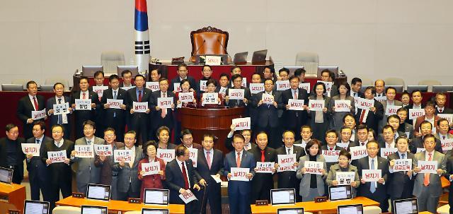 [포토] 한국당, 예산안 통과 손팻말 항의