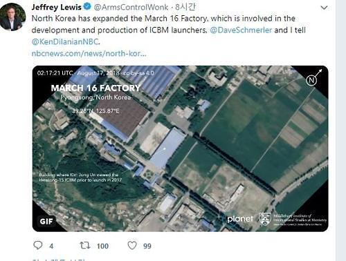 """""""북한 ICBM 발사대 관련 시설 증축 정황 포착""""-CNN"""