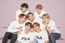 .Apparel brand FILA releases first promotion image featuring BTS.