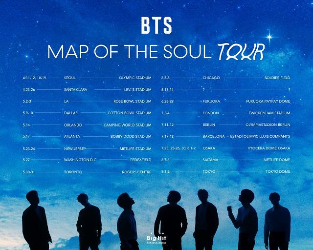 BTS reveals this years schedule for MAP OF THE SOUL world tour