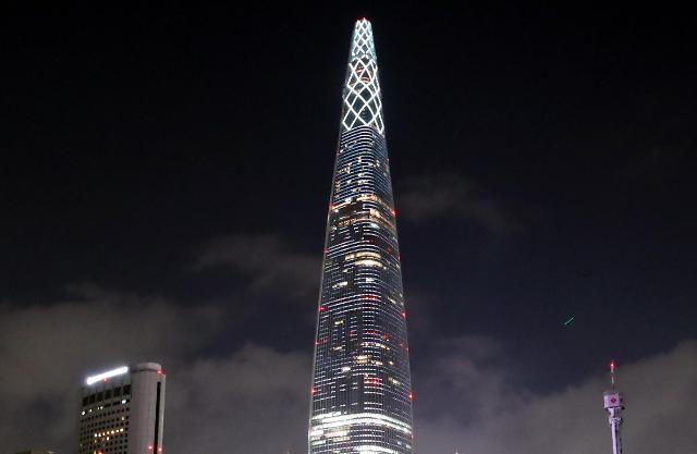 乐天世界塔为武汉加油