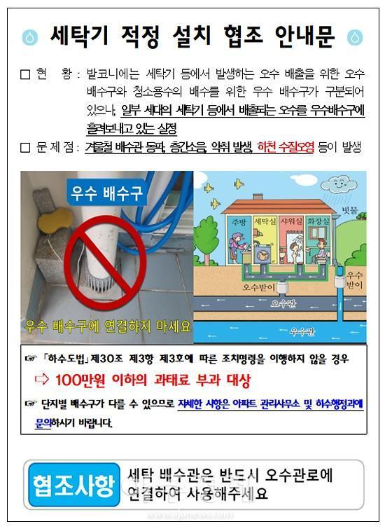 고양시, 공동주택에 바른 세탁기 설치방법 안내하고 실천 당부