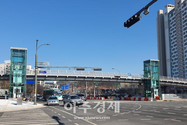 용인시, 기흥역세권에 길이 96.5m 육교 설치...26일 개통