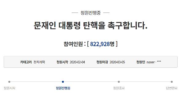 """""""어느 나라 대통령인가?"""" 문 대통령 탄핵 靑 국민청원 82만 명 돌파"""