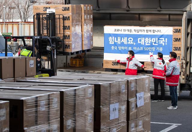 上海捐赠的50万只口罩发往韩国各地