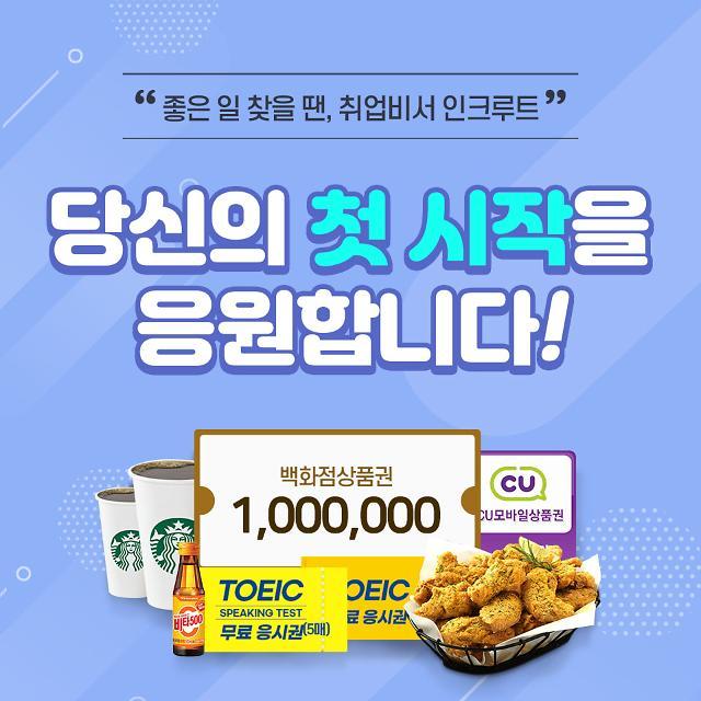 인크루트, 취업지원금 100만원 제공