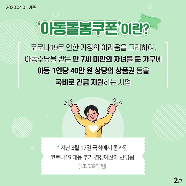 '아동돌봄쿠폰' 전자상품권, 13일부터 지급…즉시 사용 가능