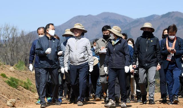 文在寅植树节访问江原道 鼓励居民恢复当地植被