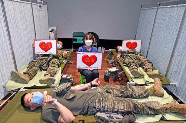 해병대 6여단, 혈액난 해결 위한 릴레이 헌혈 실시