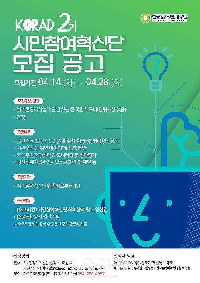 한국원자력환경공단, 제2기 시민참여혁신단 모집